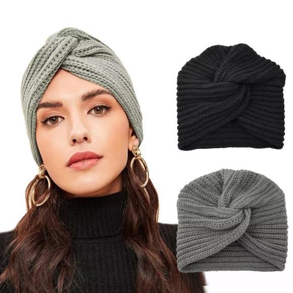 Knit Turban Cross Twist Wrap Cap Hair Beanie